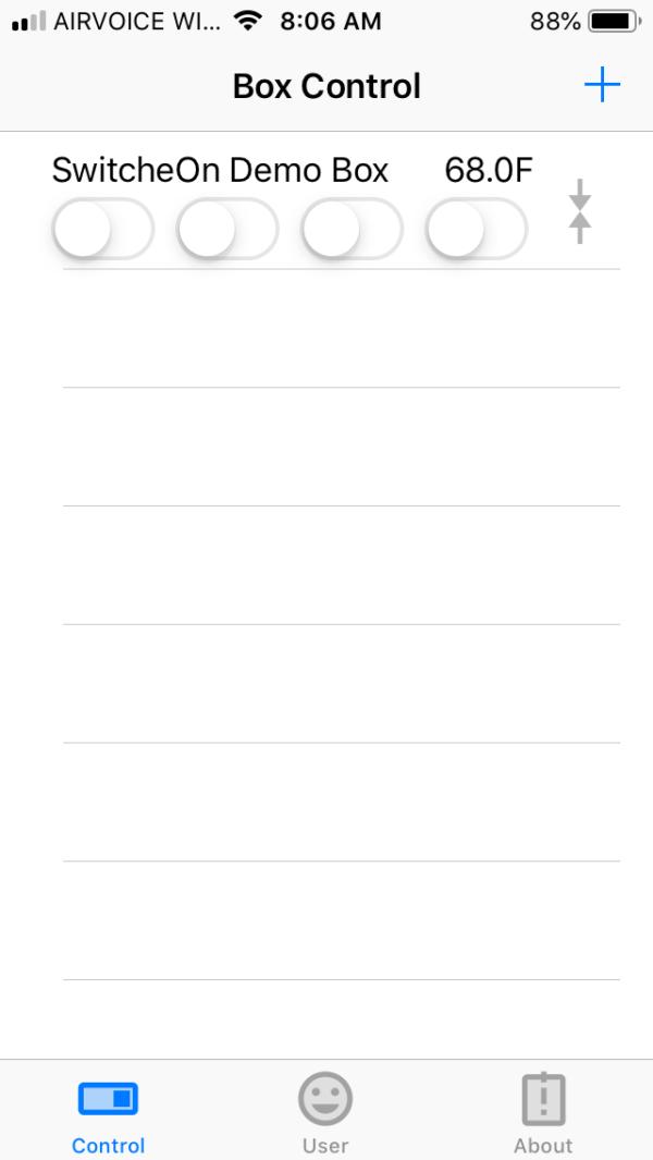 SwitcheOn App main screen